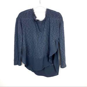 Anthropologie Deletta Gray Knit Top Sweater Tee